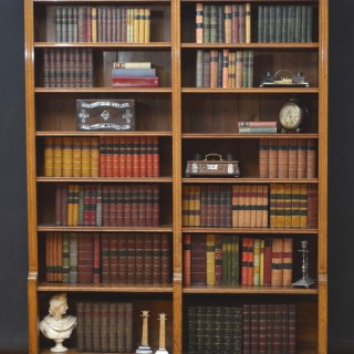Victorian Oak Open Bookcase by M. D. Miller and Sons
