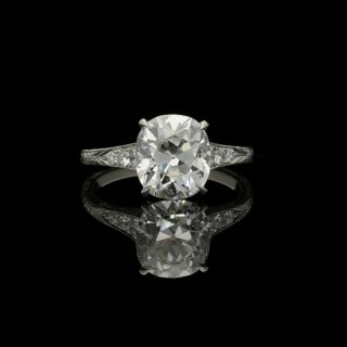 Hancocks 3.04ct Old Mine Cushion Diamond Ring in Platinum with diamond-set tapering shoulders
