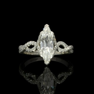 Hancocks 1.15ct Marquise Diamond and Platinum Ring with double twist diamond band