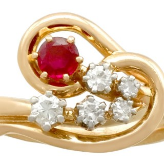 0.28 ct Ruby and 0.30 ct Diamond, 18 ct Yellow Gold Dress Ring - Vintage French Circa 1950