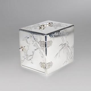 JAPANESE SILVER KODANSU SIGNED MIYAMOTO 宮本 AND GINSEI 銀製, MEIJI PERIOD