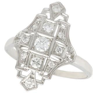 0.50ct Diamond and Platinum Dress Ring - Art Deco - Antique Circa 1925
