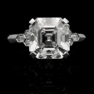 Hancocks 4.58ct Asscher Cut Diamond Ring with honeycomb diamond-set shoulders in platinum