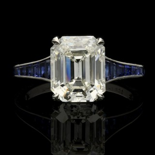Hancocks 3.20ct Emerald-cut Diamond Ring with calibre-cut Sapphire band