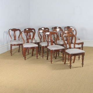Antique English Victorian Set of 12 Twelve Mahogany Balloon Spear Back Dining Chairs (Circa 1870)
