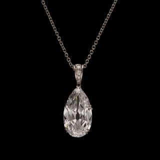 Hancocks 3.76ct D IF Old-cut Pear shaped Diamond Pendant