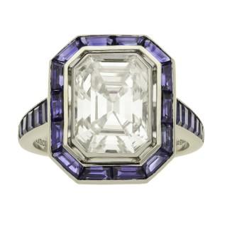 Hancocks 3.10ct Emerald cut Diamond Ring with Calibre-cut Sapphire Platinum