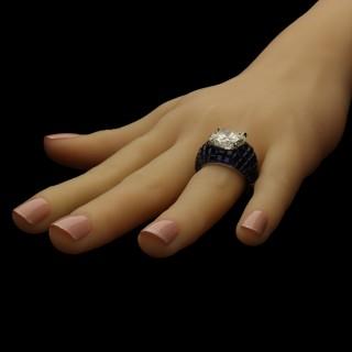 Oscar Heyman for Hancocks  8.24ct Diamond and Sapphire Bombe Ring