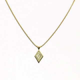 Hancocks Lozenge shaped Diamond Pendant Rubover set in 18ct yellow gold with fine Venetian chain