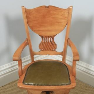 Antique American Edwardian Art Nouveau Birch Revolving Office Desk Arm Chair J.S. Ford, Johnson & Co (Circa 1910)