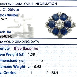 1.38ct Sapphire and 0.62ct Diamond, 18ct Yellow Gold Dress Ring - Antique Circa 1910