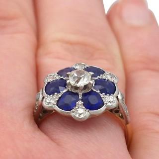 1.38ct Sapphire and 0.62ct Diamond, 18ct Yellow Gold Dress Ring - Antique Circa 1910
