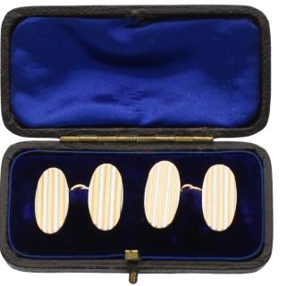 15ct Yellow Gold and Platinum Cufflinks - Antique Circa 1910