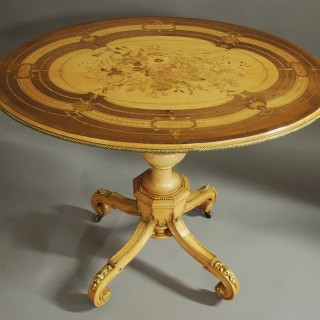 Exhibition quality inlaid centre table in the manner of Jackson & Graham