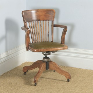 Antique English Edwardian Solid Beech & Green Leather Revolving Office Desk Arm Chair (Circa 1910)