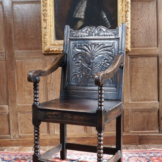 Charles I oak carved armchair