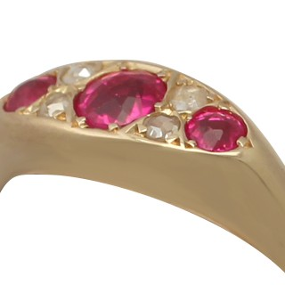 Synthetic Ruby and 0.12 ct Diamond, 18 ct Yellow Gold Dress Ring - Antique 1913