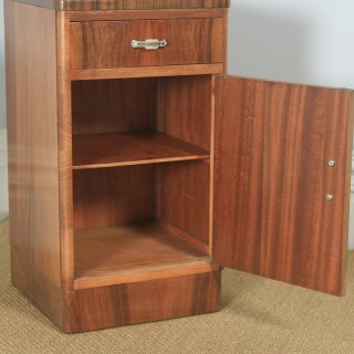 Antique English Art Deco Figured Walnut Bedside Cupboard (Circa 1930)
