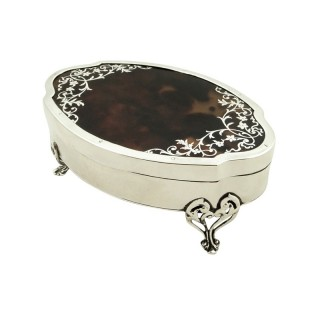 Antique Sterling Silver & Tortoiseshell Trinket Box 1919 - Mappin & Webb