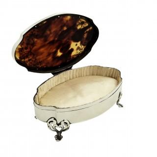 Antique Sterling Silver & Tortoiseshell Trinket Box 1919 - Mappin & Webb