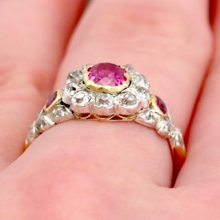 Synthetic Ruby and 0.62 ct Diamond, 18 ct Yellow gold Dress Ring - Antique Victorian