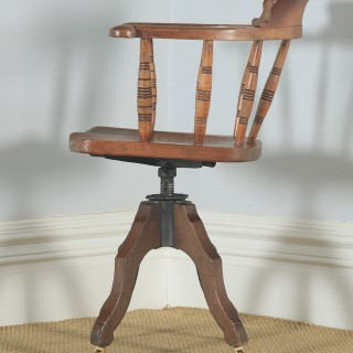 Antique English Victorian Solid Elm Revolving Office Desk Arm Chair by Glenisters of High Wycombe (Circa 1880)