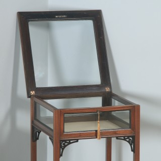 Antique English Edwardian Chippendale Style Carved Solid Mahogany Glass Bijouterie Display Cabinet Table (Circa 1910)