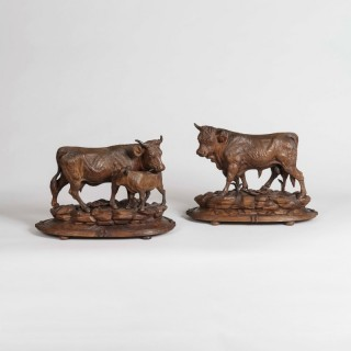 A Pair of Black Forest Cattle Attributed to Johann Huggler