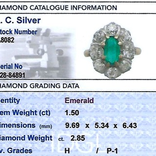 1.50 ct Emerald and 2.85 ct Diamond, 18 ct Yellow Gold Cluster Ring - Antique French Circa 1920