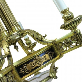 A LARGE FRENCH GILT BRONZE NEO-CLASSICAL CHANDELIER