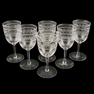 Six Edwardian Sherry or Port Glasses