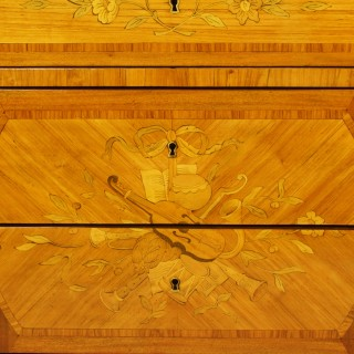 French 18th Century Transition/Louis XVI Musical Instruments/Love Symbols Marquetry Commode or Chest of Drawers
