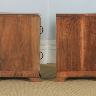 Antique English Pair of Art Deco Burr Walnut Bedside Chests (Circa 1930)