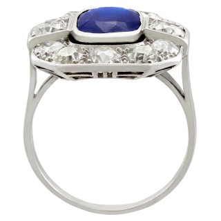 2.62ct Sapphire and 2.85ct Diamond, 18ct White Gold Cluster Ring - Antique Circa 1930
