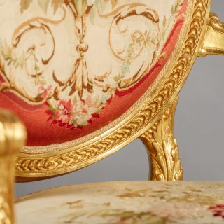 A Fine Pair of Napoleon III Period Louis XVI Style Carved Giltwood Fauteuils With Aubusson Tapestry Upholstery
