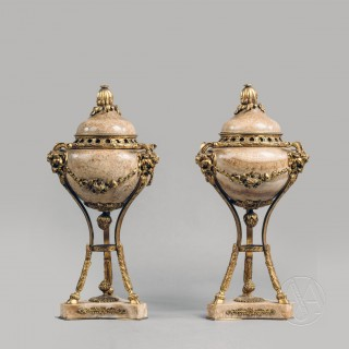 A Fine Pair of Large Louis XVI Style Gilt-Bronze and Marble Cassolettes
