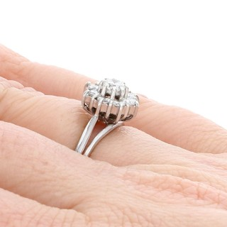0.76ct Diamond and 18ct White Gold Cluster Ring - Vintage Circa 1960