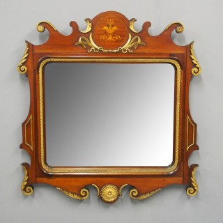 George II Style Mahogany Inlaid and Gilded Wall Mirror