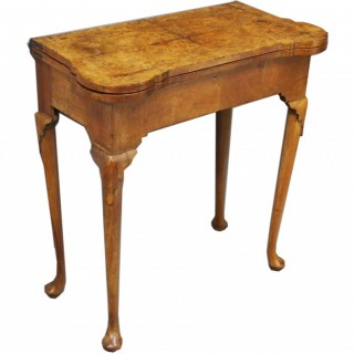 George II Walnut Foldover Games Table