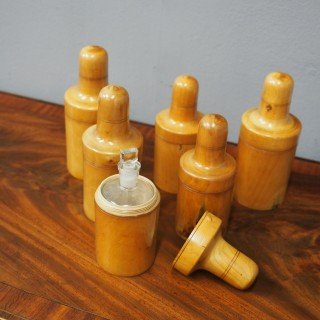 Set of 6 Victorian Boxwood Apothecary Canisters
