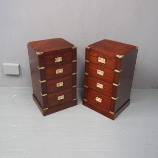 Pair of Mahogany Military Style Pedestals or Bedsides