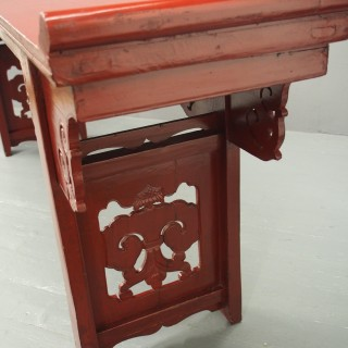 Chinese Qing Dynasty Red Lacquered Altar Table