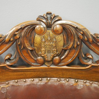 Victorian Carved Walnut Throne or Hall Chair