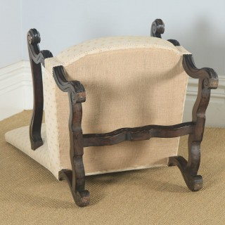 Antique French Pair of Solid Walnut Fauteuil Upholstered Armchairs (Circa 1880)