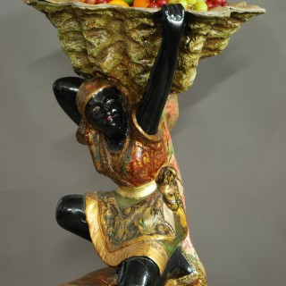Highly decorative 19th century Venetian polychrome carved wood Blackamoor figure