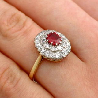 0.92 ct Burmese Ruby and 0.51 ct Diamond, 18ct Yellow Gold Cluster Ring - Vintage Circa 1950