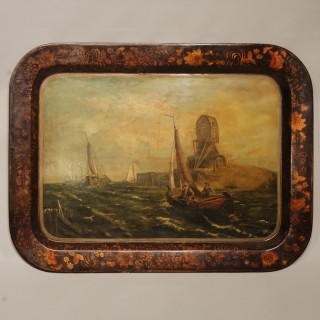 19th century Toleware Painted and Gilt Decorated Tray