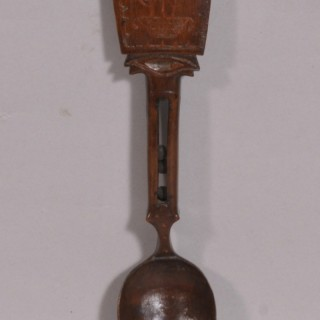 Antique Treen 19th Century Fruitwood Love Spoon