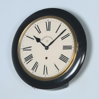 Antique 16″ Mahogany Ansonia Railway Station / School Round Dial Wall Clock (Timepiece)