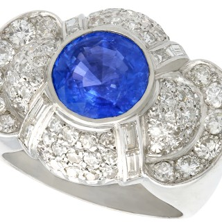 3.57ct Sapphire and 2.37ct Diamond, Platinum Dress Ring - Vintage Circa 1950